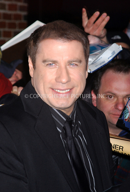 WWW.ACEPIXS.COM . . . . . ....NEW YORK, FEBRUARY 24, 2005....John Travolta arrives for his appearance on The Late Show with David Letterman.....Please byline: KRISTIN CALLAHAN - ACE PICTURES.. . . . . . ..Ace Pictures, Inc:  ..Philip Vaughan (646) 769-0430..e-mail: info@acepixs.com..web: http://www.acepixs.com