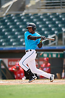 Miami Marlins Dalvy Rosario (98) at bat during an Instructional League game against the Washington Nationals on September 25, 2019 at Roger Dean Chevrolet Stadium in Jupiter, Florida.  (Mike Janes/Four Seam Images)