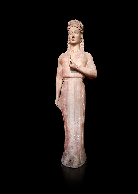 Parian marble Ancient Greek Archaic statue of a kore by Ariston of Paros, found in Merenda, Attica, Circa 540-530 BC, Athens National Archaeological Museum. Cat no 4889. Against black<br /> <br /> This funerary statue was found in the same pit as Phrasikleia cat no 4890. The expression on the face and the rendering of the garment that follows the curves of the body underneath are remarkable. The chiton retains in many places its painted decoration with rosettes, swastikas, stars and meanders. This Kore is an extraordinary statue and is one of the most inportant of the Archaic Period. Mad by sculptor Ariston from Paros