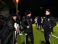20.02.2020 OUD-HEVERLEE: OHL Trainers Arno Vandenabeele (left) and Jimmy Coenraets (right) in conversation before the Belgian's Women's Super League match between Oud-Heverlee Leuven vs KRC Gent Ladies on Friday 20th February 2020, Stadion Oud-Heverlee, Oud-Heverlee, BELGIUM. PHOTO: SEVIL OKTEM