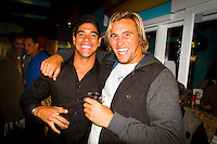 Torquay, Victoria/Australia (Monday, April 9, 2012) Heitor Alves (BRA) and Damien Fahrenfort (ZAF)  The 500th Issue Tracks party at Growlers Restaurant in Torquay attended by past editors Phil Jarratt (AUS), Gary Dunne (AUS),Neil Ridgway (AUS), current editor Luke Kennedy (AUS) surfers and friends of the magazine.Photo: joliphotos.com
