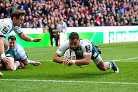 Telusa Veainu of Leicester Tigers dives for the try-line late in the game. European Rugby Champions Cup semi final, between Leicester Tigers and Racing 92 on April 24, 2016 at The City Ground in Nottingham, England. Photo by: Patrick Khachfe / JMP