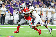 Indianapolis, IN - December 1, 2018: Ohio State Buckeyes wide receiver Johnnie Dixon (1) is tackled by Northwestern Wildcats defensive back Alonzo Mayo (10) during the Big Ten championship game between Northwestern  and Ohio State at Lucas Oil Stadium in Indianapolis, IN.   (Photo by Elliott Brown/Media Images International)