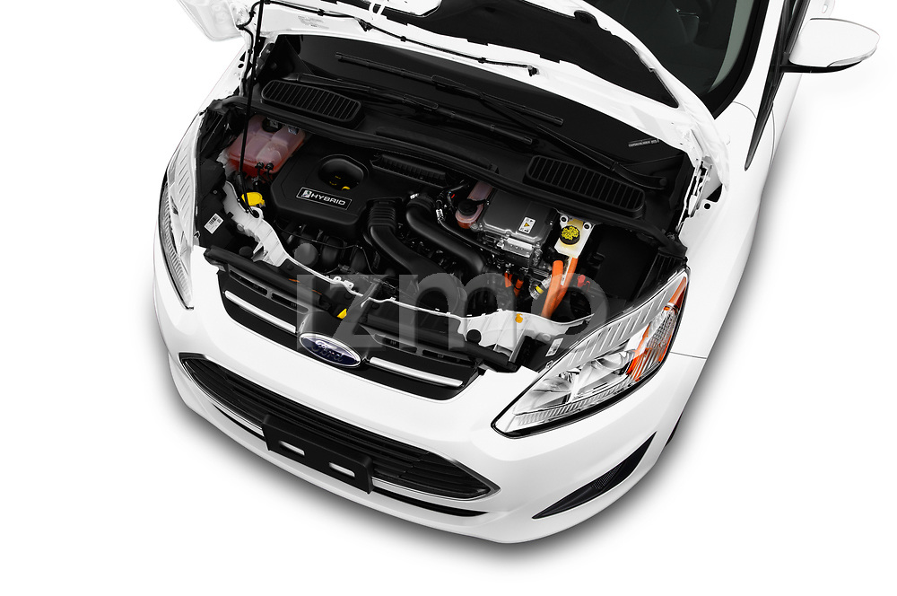 Car Stock 2017 Ford C-Max SE-Hybrid 5 Door Mini MPV Engine  high angle detail view