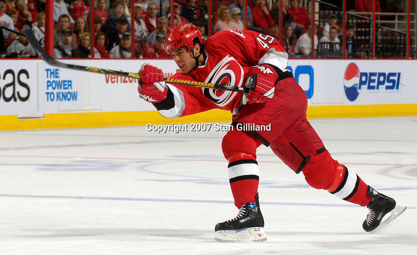 Carolina Hurricanes' David Tanabe takes a shot during a game with the Washington Capitals Thursday, March 22, 2007 at the RBC Center in Raleigh, NC. Carolina won 4-3.