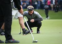 Soren Kjeldsen (DEN) grimaces at the line of putt  during the Final Round of the British Masters 2015 supported by SkySports played on the Marquess Course at Woburn Golf Club, Little Brickhill, Milton Keynes, England.  11/10/2015. Picture: Golffile | David Lloyd<br /> <br /> All photos usage must carry mandatory copyright credit (&copy; Golffile | David Lloyd)