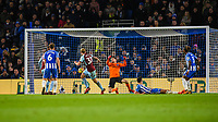 Scott Arfield of Burnley (37) Shoots at goal  during the EPL - Premier League match between Brighton and Hove Albion and Burnley at the American Express Community Stadium, Brighton and Hove, England on 16 December 2017. Photo by Edward Thomas / PRiME Media Images.