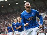 Kris Boyd celebrates his winning penalrty for Rangers