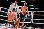 li, auf den Knien: Emre Cukur (GER) vs. Davide Faraci (ITA) - Super middleweight ; Boxen: ECB ECBOXING am 09.02.2020 in Goeppingen (EWS Arena), Baden-Wuerttemberg, Deutschland.<br /> <br /> Foto © PIX-Sportfotos *** Foto ist honorarpflichtig! *** Auf Anfrage in hoeherer Qualitaet/Aufloesung. Belegexemplar erbeten. Veroeffentlichung ausschliesslich fuer journalistisch-publizistische Zwecke. For editorial use only.