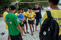 February 18, 2013 - Koh Rong (Sihanoukville). A group of deminers make orientation exercises in the beach of the island of Koh Rong, off the coast of Sihanoukville. © Thomas Cristofoletti / Ruom