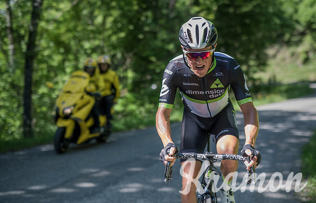 Serge Pauwels (BEL/Dimension Data) up the Mont du Chat (HC/1504m/8.7km/10.3%)<br /> <br /> Stage 6: Le parc des oiseaux/Villars-Les-Dombes &rsaquo; La Motte-Servolex (147km)<br /> 69th Crit&eacute;rium du Dauphin&eacute; 2017