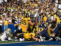 Kevin Riley of California scores a touchdown during the game against UCLA at Memorial Stadium in Berkeley, California on October 9th, 2010.   California defeated UCLA, 35-7.