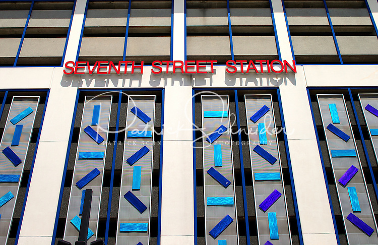 Photography of the Touch My Building at the  7th Street Parking deck in downtown Charlotte, North Carolina.<br /> <br />  The entire facade of the Bank of America&rsquo;s 7th Street Parking Deck is transformed by two principle visual elements. The first addresses the scale of the building&mdash;a syncopated pattern of 416 colored panels painted in custom automobile colors create a lively dynamic surface over the nine-story facade. Natural light is used with colored glass in both the stair tower and the cornice, creating strong.<br /> <br /> Charlotte Photographer -PatrickSchneiderPhoto.com
