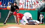 29 August 2010: St. Louis Cardinals infielder Brendan Ryan gets Ian Desmond out at second as MLB umpire Dan Belino calls the play during game action against the Washington Nationals at Nationals Park in Washington, DC. The Nationals defeated the Cards 4-2 to take the final game of their 4-game series. Mandatory Credit: Ed Wolfstein Photo