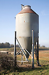 Single steel animal food store silo on pig farm, Sutton, Suffolk, England