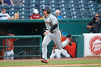 Cadyn Grenier (3) of the Delmarva Shorebirds hustles towards home plate against the Greensboro Grasshoppers at First National Bank Field on August 26, 2018 in Greensboro, North Carolina. The Shorebirds defeated the Grasshoppers 6-4. (Brian Westerholt/Four Seam Images)