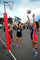 Action from the girls' netball match between Mission Heights and Hastings at the AIMS games in Mount Maunganui, New Zealand on Thursday, 14 September 2017. Photo: Dave Lintott / lintottphoto.co.nz