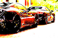 ferrari california and audi r8 spyder in blazing color