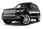 Stock pictures of low aggressive front three quarter view of a 2015 Land Rover RANGE ROVER Vogue 5 Door SUV Low Aggressive
