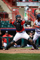 Erie SeaWolves catcher Grayson Greiner (21) throws down to second base during a game against the Reading Fightin Phils on May 18, 2017 at UPMC Park in Erie, Pennsylvania.  Reading defeated Erie 8-3.  (Mike Janes/Four Seam Images)