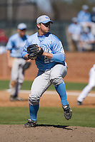 Nate Stritz (29) of the North Carolina Tar Heels in action versus the St. John's Red Storm at the 2008 Coca-Cola Classic at the Winthrop Ballpark in Rock Hill, SC, Sunday, March 2, 2008.