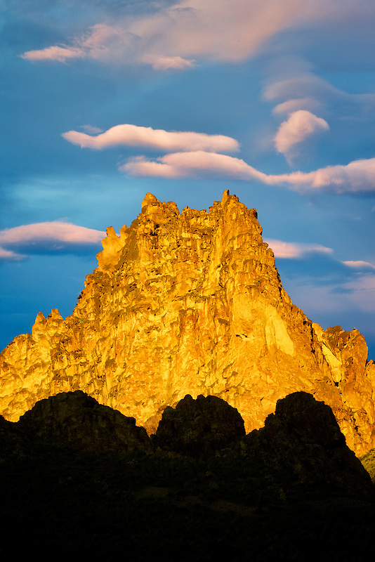 Silhouetted rock formations. Leslie Gulch, Malheur County, Oregon