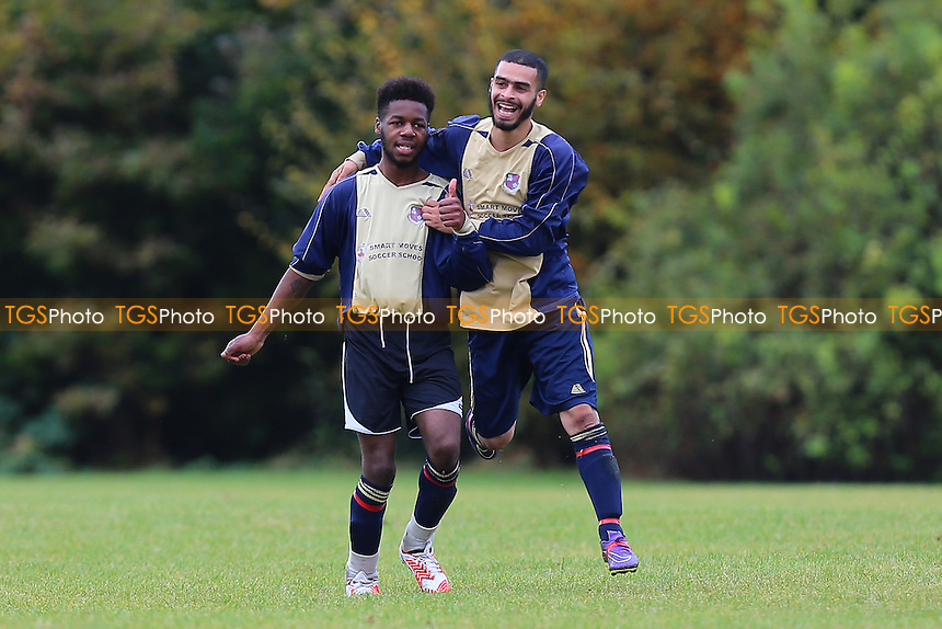 Maynell celebrate their fourth goal during Bow Badgers (black/white) vs Maynell (Denne) Hackney & Leyton Sunday League Football at Hackney Marshes on 16th October 2016