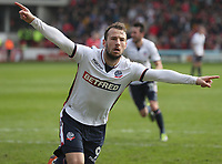 Bolton Wanderers' Adam Le Fondre celebrates scoring his side's first goal  from the penalty spot<br /> <br /> Photographer Rachel Holborn/CameraSport<br /> <br /> The EFL Sky Bet Championship - Barnsley v Bolton Wanderers - Saturday 14th April 2018 - Oakwell - Barnsley<br /> <br /> World Copyright &copy; 2018 CameraSport. All rights reserved. 43 Linden Ave. Countesthorpe. Leicester. England. LE8 5PG - Tel: +44 (0) 116 277 4147 - admin@camerasport.com - www.camerasport.com