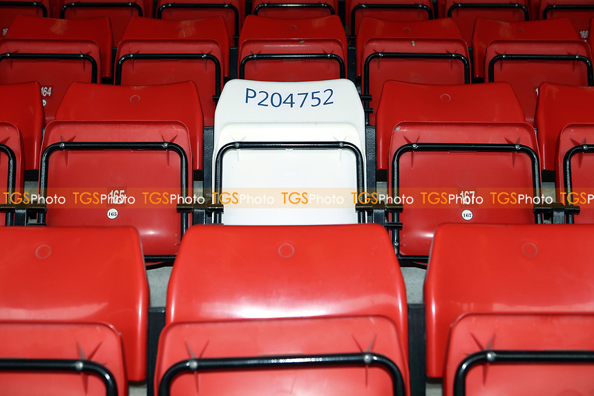 PC Keith Palmer's red seat has been temporarily replaced by a white seat which bears his warrant number. This will remain in place for the remainder of the season during Charlton Athletic vs MK Dons, Sky Bet EFL League 1 Football at The Valley on 4th April 2017