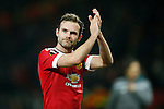 Juan Mata of Manchester United applauds the fans during the UEFA Europa League match at Old Trafford. Photo credit should read: Philip Oldham/Sportimage