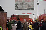 Sheffield United 2 Leeds United 0, 19/03/2011. Bramall Lane, Championship. Sheffield United supporter gathering at the turnstiles to gain admission to the Kop Stand at the club's Bramall Lane ground prior to the Npower Championship fixture against Leeds United. The home team won the game by two goals to nil watched by a crowd of 23,728. Bramall Lane is the world's oldest professional football ground and at one time hosted both football and cricket. Photo by Colin McPherson.
