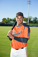 AZL Giants first round selection from the 2017 Draft Heliot Ramos (31) poses for a photo prior to a game against the AZL Rangers on August 22 at Scottsdale Stadium in Scottsdale, Arizona. AZL Rangers defeated the AZL Giants 7-5. (Zachary Lucy/Four Seam Images via AP Images)
