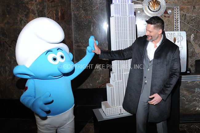 www.acepixs.com<br /> March 20, 2017  New York City<br /> <br /> Joe Manganiello attending a lighting ceremony at The Empire State Building to celebrate the 'Small Smurfs Big Goals' campaign and the International Day Of Happiness on March 20, 2017 in New York City.<br /> <br /> Credit: Kristin Callahan/ACE Pictures<br /> <br /> Tel: 646 769 0430<br /> Email: info@acepixs.com