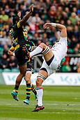 9th September 2017, Franklins Gardens, Northampton, England; Aviva Premiership Rugby, Northampton Saints versus Leicester Tigers;  Ahsee Tuala of Northampton Saints and Graham Kitchener of Leicester Tigers compete fort a high ball