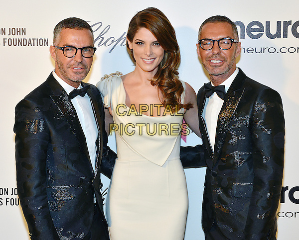 02 March 2014 - West Hollywood, California - Ashley Greene with Dean and Dan Caten. 22nd Annual Elton John Academy Awards Viewing Party held at West Hollywood Park. <br /> CAP/ADM/CC<br /> &copy;CC/AdMedia/Capital Pictures