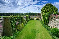 France,  Indre-et-Loire (37), Chançay, jardins du château de Valmer, les douves et ifs taillés en colonnes contrefort