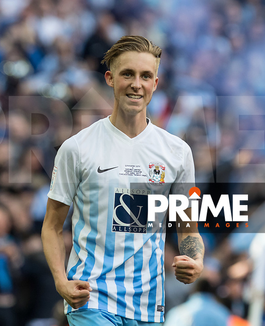 Ben Stevenson of Coventry City celebrates at full time during the The Checkatrade Trophy / EFL Trophy FINAL match between Oxford United and Coventry City at Wembley Stadium, London, England on 2 April 2017. Photo by Kevin Prescod.