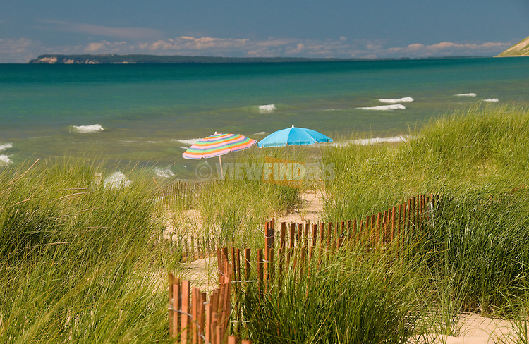 Michigan beach scene with Manitou Island