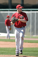 Kevin Munson #20 of the Arizona Diamondbacks works out at the Diamondbacks spring training complex at Salt River Fields on March 13, 2011 in Scottsdale, Arizona. .Photo by:  Bill Mitchell/Four Seam Images.