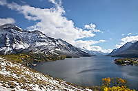 Fall colors at Upper Waterton Lake and Vime Peak in Waterton Lakes National Park