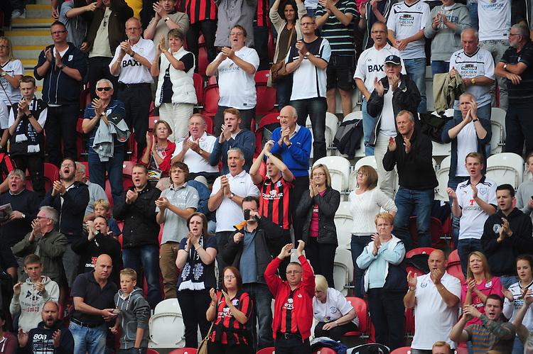 Preston North End fans<br /> <br /> (Photo by Chris Vaughan/CameraSport)<br /> <br /> Football - The Football League Sky Bet League 1 - Rotherham United v Preston North End - Saturday 10th August 2013 - New York Stadium - Rotherham<br /> <br /> &copy; CameraSport - 43 Linden Ave. Countesthorpe. Leicester. England. LE8 5PG - Tel: +44 (0) 116 277 4147 - admin@camerasport.com - www.camerasport.com