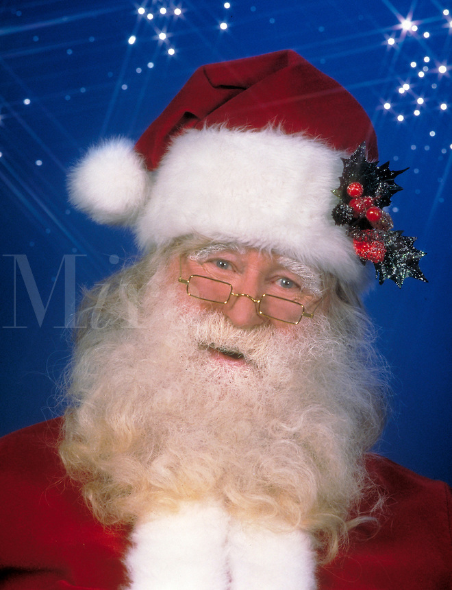 Santa Claus Portrait with blue background and stars. Christmas, symbols,  B. McReynolds, M.R. # S-14.