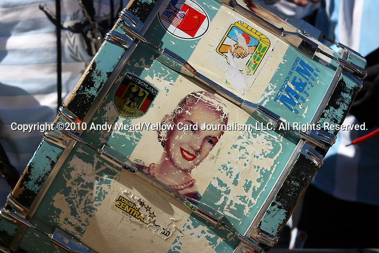 17 JUN 2010: Argentina fan drum with an image of Eva Peron. The Argentina National Team defeated the South Korea National Team 4-1 at Soccer City Stadium in Johannesburg, South Africa in a 2010 FIFA World Cup Group E match.