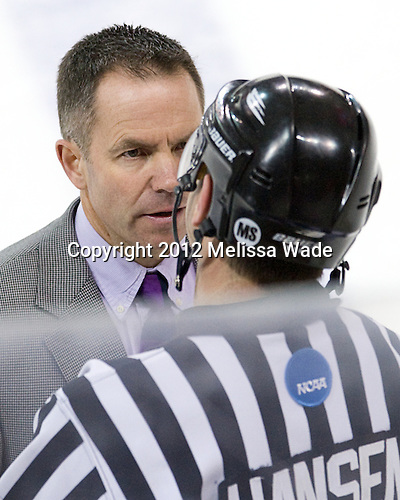 Blaise MacDonald (UMass - Assistant Coach) and Scott Hansen chat following the game. - The Boston College Eagles defeated the visiting University of Massachusetts-Amherst Minutemen 2-1 in the opening game of their 2012 Hockey East quarterfinal matchup on Friday, March 9, 2012, at Kelley Rink at Conte Forum in Chestnut Hill, Massachusetts.