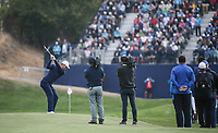 Justin Rose (Team Europe) plays to the 7th during Friday's Fourballs, at the Ryder Cup, Le Golf National, Îls-de-France, France. 28/09/2018.<br /> Picture David Lloyd / Golffile.ie<br /> <br /> All photo usage must carry mandatory copyright credit (© Golffile | David Lloyd)