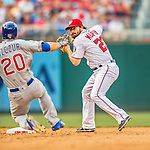15 June 2016: Washington Nationals second baseman Daniel Murphy in action against the Chicago Cubs at Nationals Park in Washington, DC. The Nationals defeated the Cubs 5-4 in 12 innings to take the rubber match of their 3-game series. Mandatory Credit: Ed Wolfstein Photo *** RAW (NEF) Image File Available ***