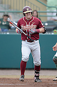 Florida State Seminoles first baseman John Nogowski (3) reacts to being hit by a pitch during a game against the South Florida Bulls on March 5, 2014 at Red McEwen Field in Tampa, Florida.  Florida State defeated South Florida 4-1.  (Copyright Mike Janes Photography)