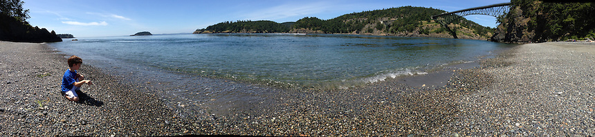 Max at Deception Pass (Panorama), Whidbey Island, WA