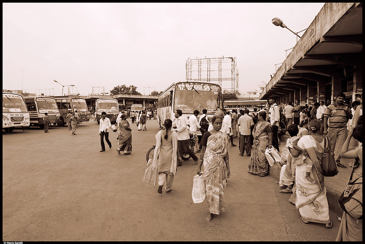 Pondy Bus Station. South India.