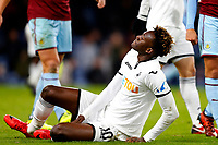 Tammy Abraham of Swansea City goes reacts as he is injured during the Premier League match between Burnley and Swansea City at Turf Moor, Burnley, England, UK. Saturday 18 November 2017